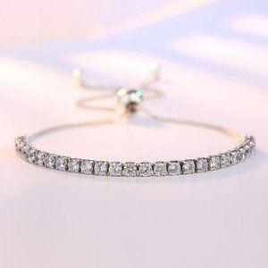 *925 Sterling Silver Diamond Tennis Net Bracelet